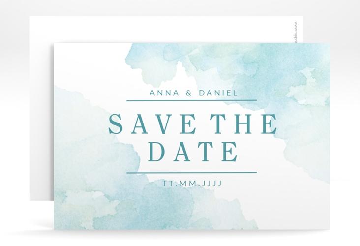 """Save the Date-Karte """"Blush"""" A6 quer tuerkis"""