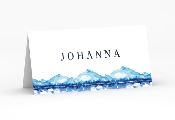 """Tischkarte Hochzeit """"Bergliebe"""" Tischkarten blau"""