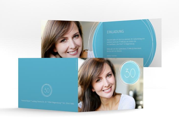 """Einladungskarte """"Twister"""" A6 Klappkarte Quer blau"""