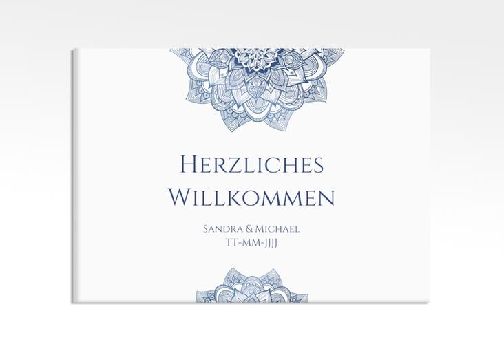 """Willkommensschild Hochzeit """"Delight"""" 70 x 50 cm Leinwand blau"""
