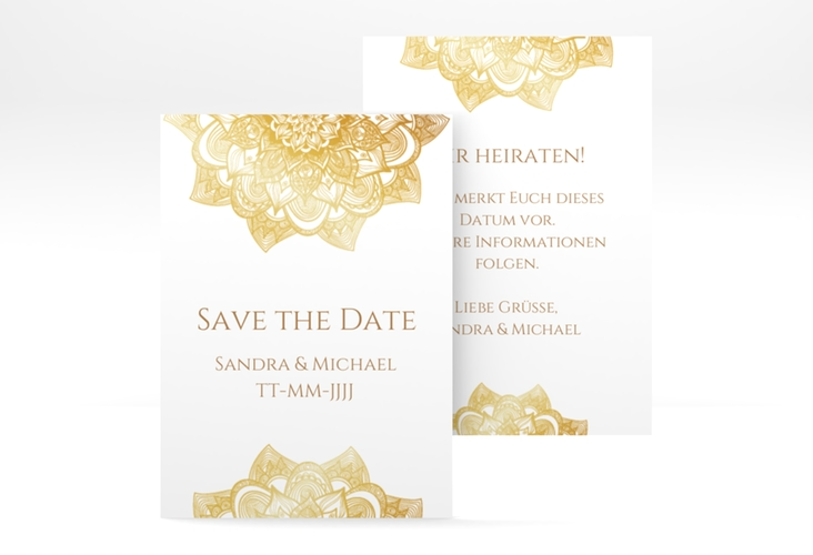 "Save the Date-Visitenkarte ""Delight"" Visitenkarte gold"