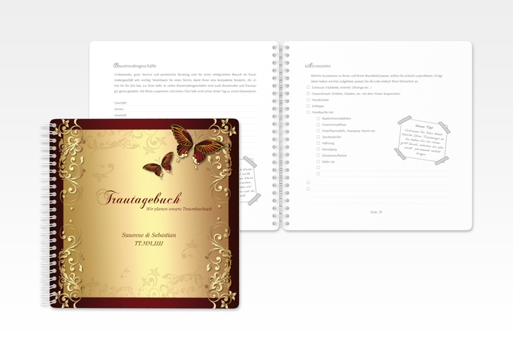 """Trautagebuch Hochzeit """"Toulouse"""" Trautagebuch Hochzeit rot"""