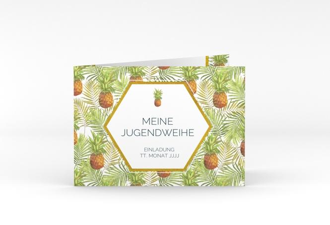 "Einladung Jugendweihe ""Pineapple"" A6 Klappkarte Quer"