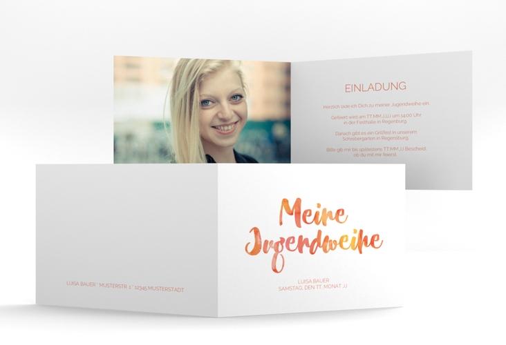 """Einladungskarte Jugendweihe """"Multicolored"""" A6 Klappkarte Quer orange"""
