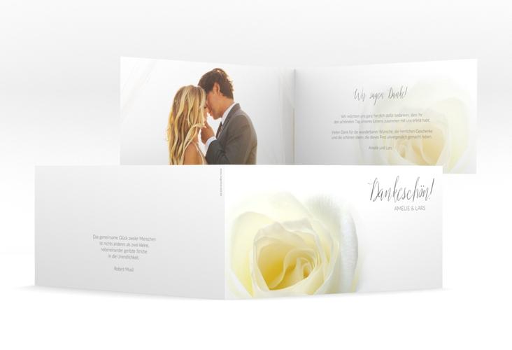 """Danksagungskarte Hochzeit """"Rose"""" DIN lang Klappkarte weiss"""