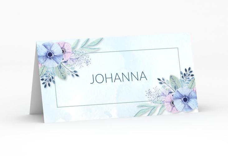 """Tischkarte Hochzeit """"Surfinia"""" Tischkarten blau"""