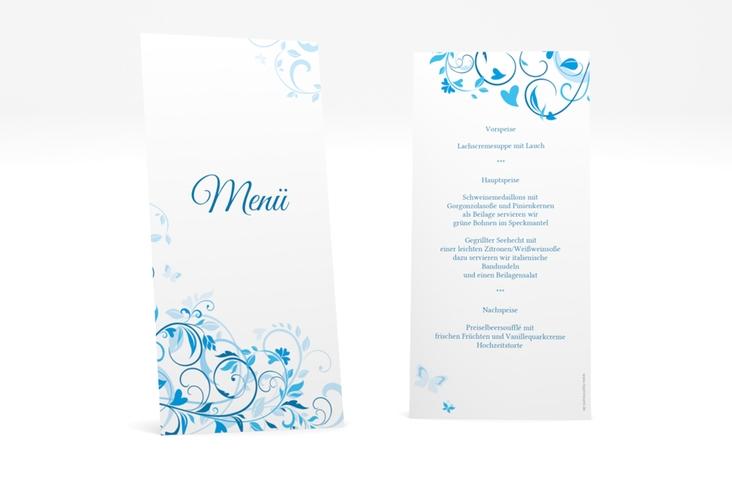 """Menükarte Hochzeit """"Lilly"""" DIN lang hoch blau"""