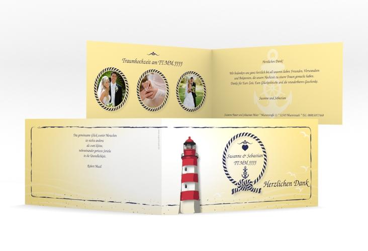 "Danksagungskarte Hochzeit ""Sylt"" DIN lang Klappkarte gelb"