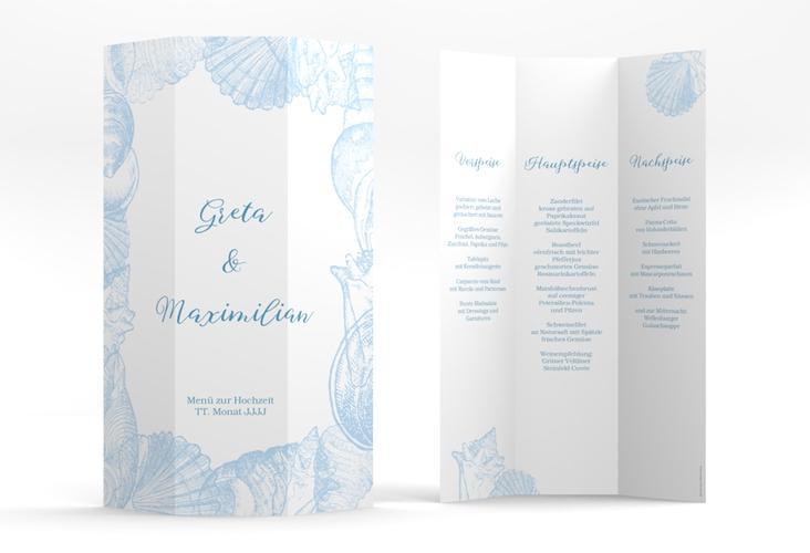 """Menükarte Hochzeit """"Muschelreich"""" DIN A4 Wickelfalz blau"""