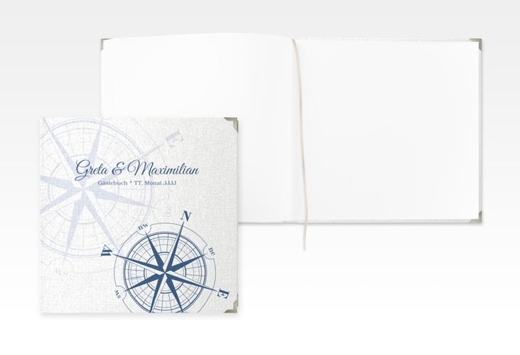 """Gästebuch Selection Hochzeit """"Windrose"""" Leinen-Hardcover blau"""
