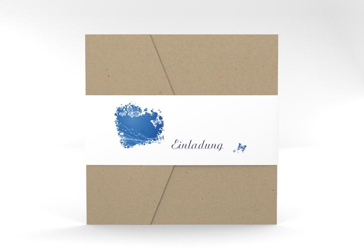"""Hochzeitseinladung """"Mailand"""" Pocketfold blau"""