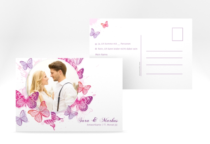 """Antwortkarte Hochzeit  """"Schmetterlinge"""" A6 Postkarte"""
