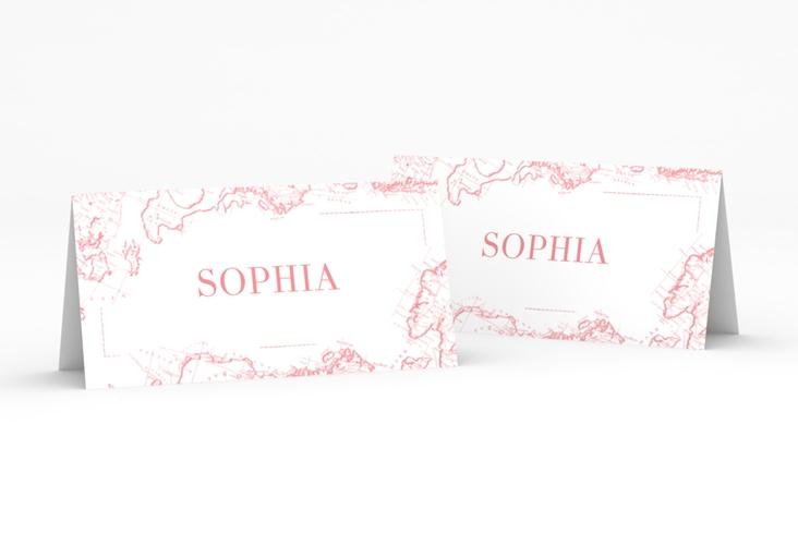 """Tischkarte Hochzeit """"Voyage"""" Tischkarten rosa"""