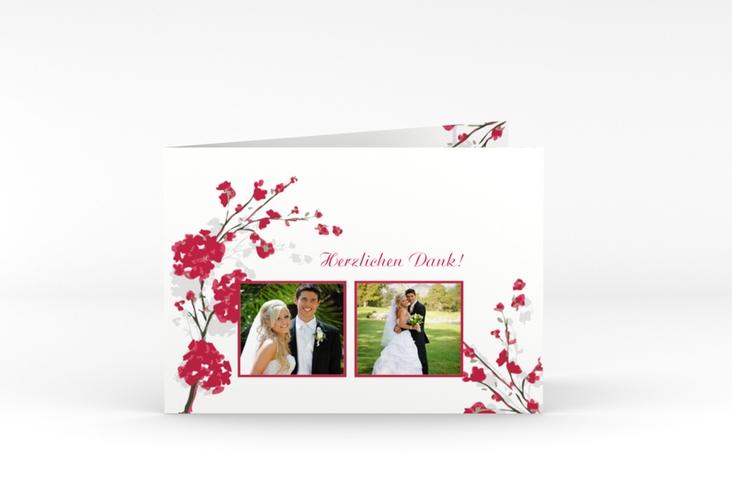 """Danksagungskarte Hochzeit """"Salerno"""" A6 Klappkarte Quer rot"""