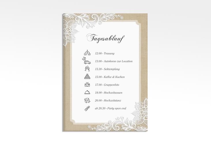 """Tagesablauf Leinwand Hochzeit """"Lace"""" 50 x 70 cm Leinwand beige"""