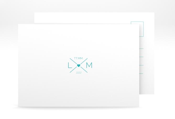 """Antwortkarte Hochzeit """"Initials"""" A6 Postkarte tuerkis"""