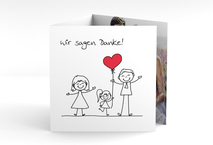 """Dankeskarte Hochzeit """"Familia"""" Quadr. Karte doppelt"""