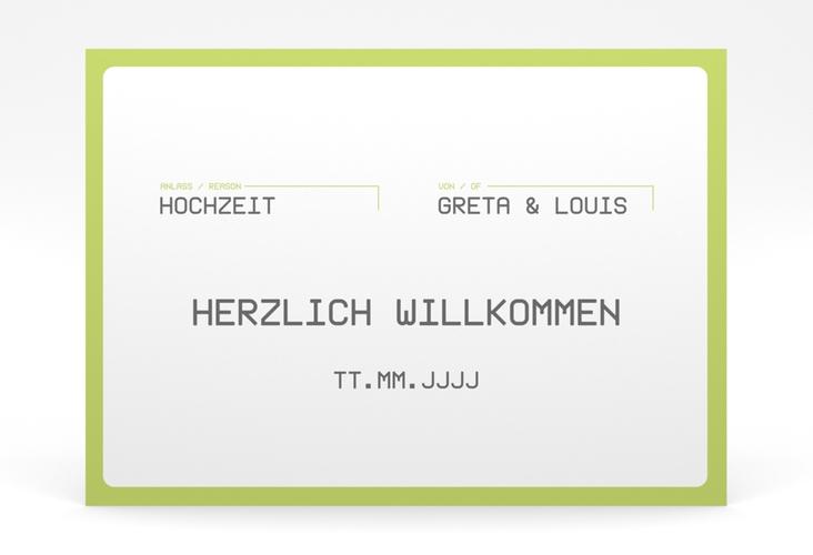 "Willkommensschild Poster ""Weddingpass"" 70 x 50 cm Poster gruen"