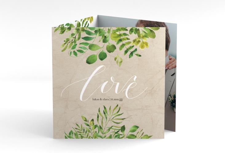 """Dankeskarte Hochzeit """"Botany"""" Quadr. Karte doppelt"""