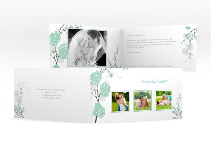 "Danksagungskarte Hochzeit ""Salerno"" DIN lang Klappkarte mint"