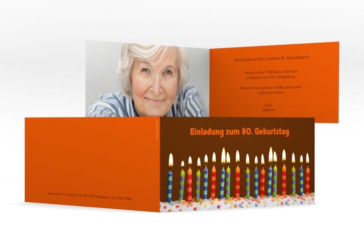 "Einladungskarte ""Candles"" DIN lang Klappkarte braun"