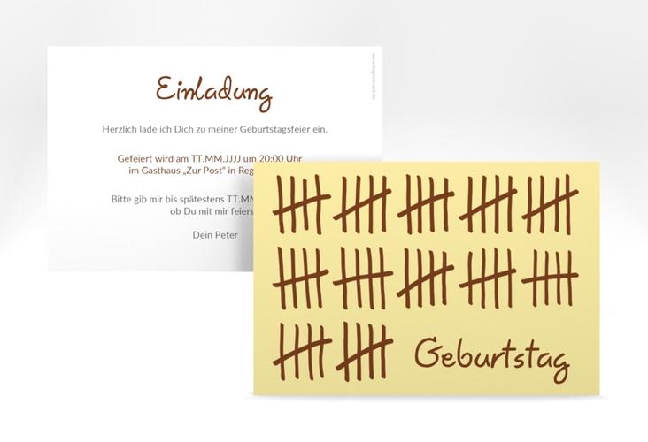"""Einladungskarte """"Strichliste"""" A6 quer beige"""