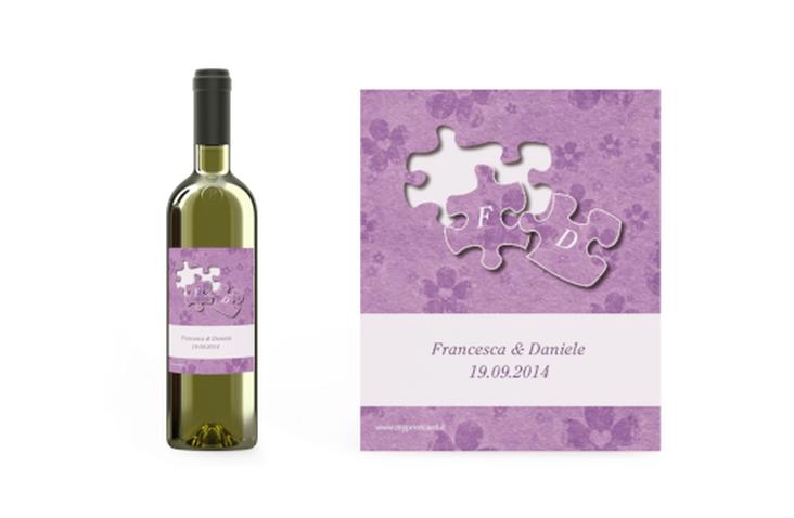 Etichette vino matrimonio collezione Bergamo Etikett Weinflasche 4er Set lila