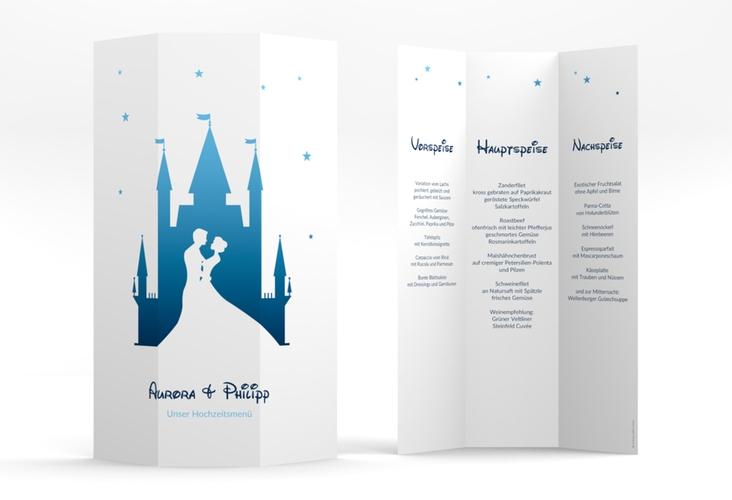 """Menükarte Hochzeit """"Castle"""" DIN A4 Wickelfalz blau"""