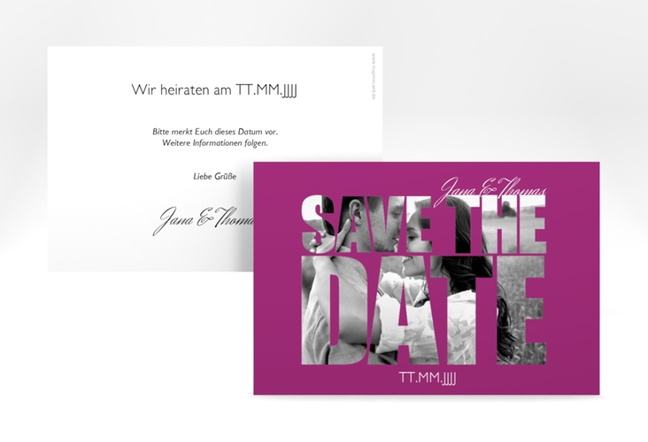 "Save the Date-Karte Hochzeit ""Letters"" A6 quer pink"