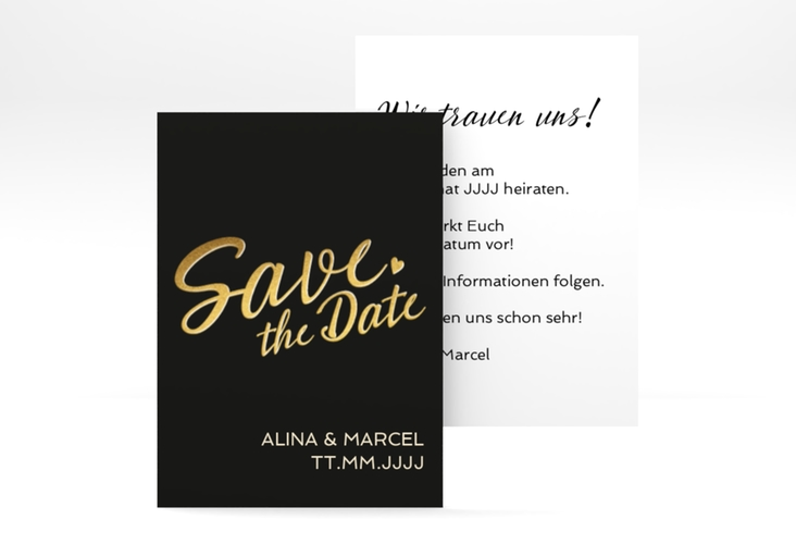 "Save the Date-Visitenkarte ""Glam"" Visitenkarte schwarz"