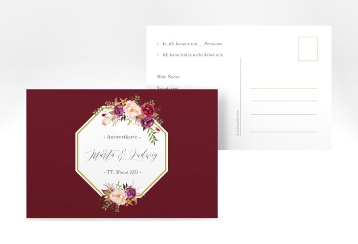 """Antwortkarte Hochzeit """"Prachtvoll"""" A6 Postkarte rot"""