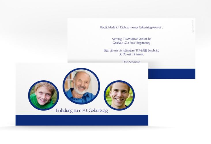 """Einladungskarte """"Anton/Antonia"""" DIN lang blau"""