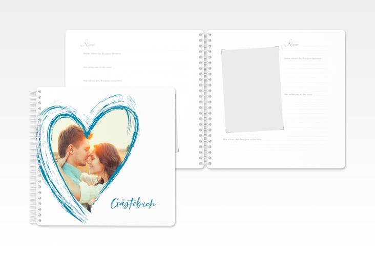 """Gästebuch Hochzeit """"Liebe"""" Ringbindung tuerkis"""