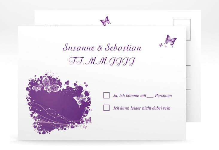 """Antwortkarte Hochzeit """"Mailand"""" A6 Postkarte lila"""