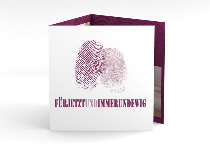 """Dankeskarte Hochzeit """"Messina"""" Quadr. Karte doppelt lila"""
