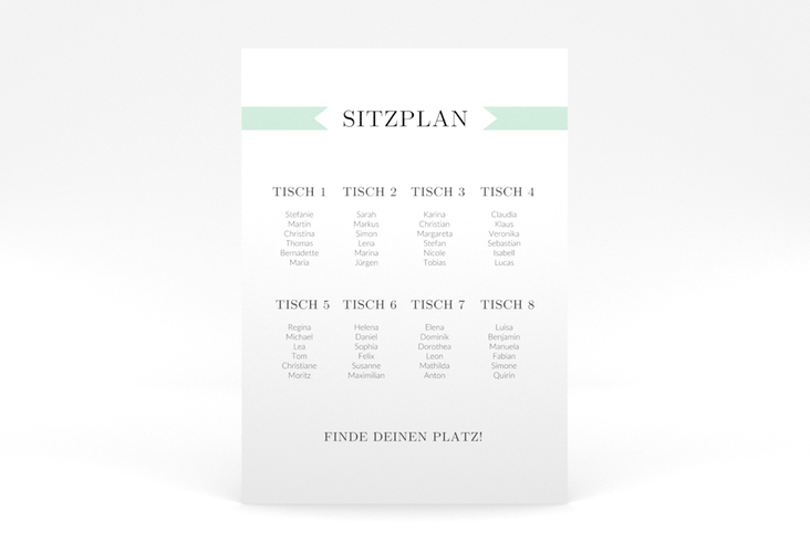 """Sitzplan Poster Hochzeit """"Tender"""" 50 x 70 cm Poster mint"""