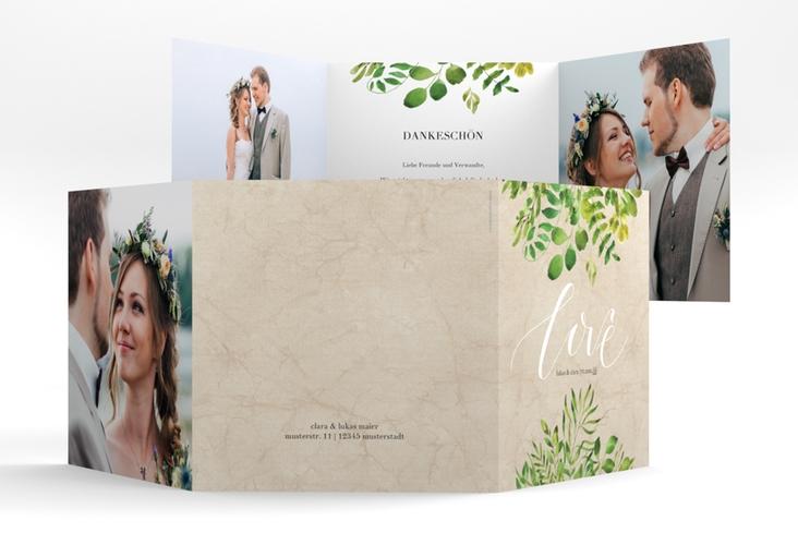 """Dankeskarte Hochzeit """"Botany"""" Quadr. Karte doppelt beige"""