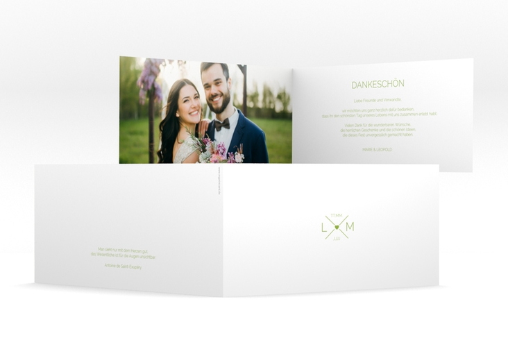 "Dankeskarte Hochzeit ""Initials"" DIN lang Klappkarte gruen"