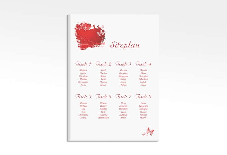 "Sitzplan Leinwand Hochzeit ""Mailand"" 50 x 70 cm Leinwand rot"