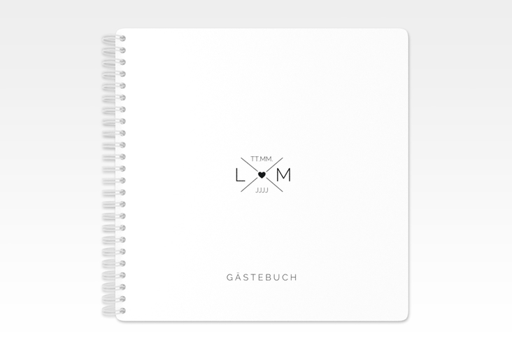 """Gästebuch Hochzeit """"Initials"""" Ringbindung schwarz"""