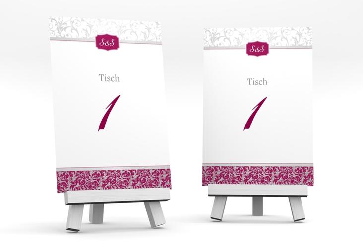 """Tischnummer Hochzeit """"Latina"""" Tischaufsteller pink"""