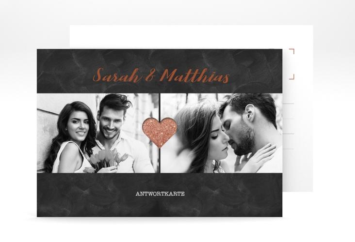 """Antwortkarte Hochzeit """"Sparkly"""" A6 Postkarte braun"""