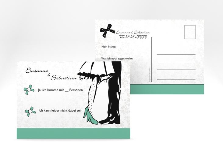 """Antwortkarte Hochzeit """"Straßburg"""" A6 Postkarte gruen"""