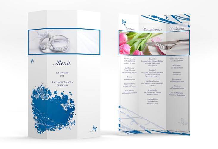"Menükarte Hochzeit ""Mailand"" DIN A4 Wickelfalz blau"