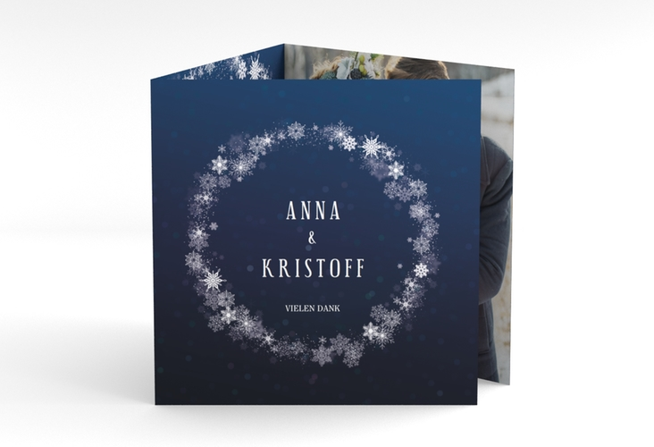 "Dankeskarte Hochzeit ""Winterdream"" Quadr. Karte doppelt"
