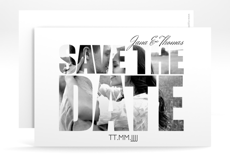 """Save the Date-Karte Hochzeit """"Letters"""" A6 quer weiss"""