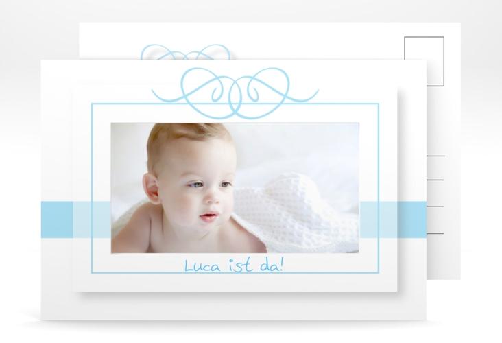 Geburtskarte Arabeske A6 Postkarte blau