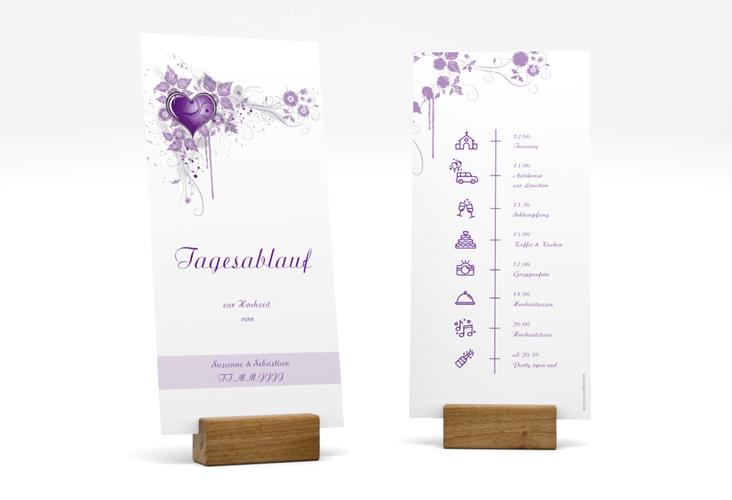 """Tagesablauf Hochzeit """"Triest"""" DIN lang hoch lila"""