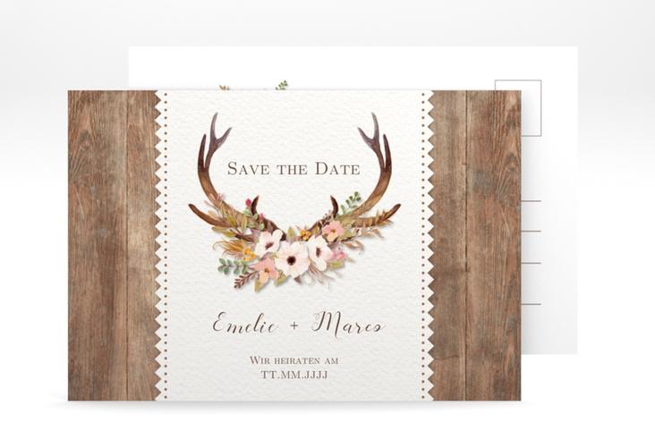 """Save the Date-Postkarte """"Heimatjuwel"""" A6 Postkarte braun"""