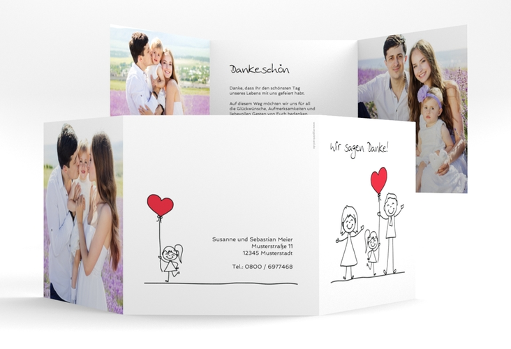 "Dankeskarte Hochzeit ""Familia"" Quadr. Karte doppelt weiss"